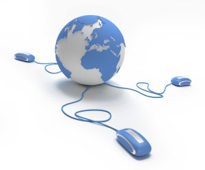 Blue and white Earth Globe connected with three computer mouses.